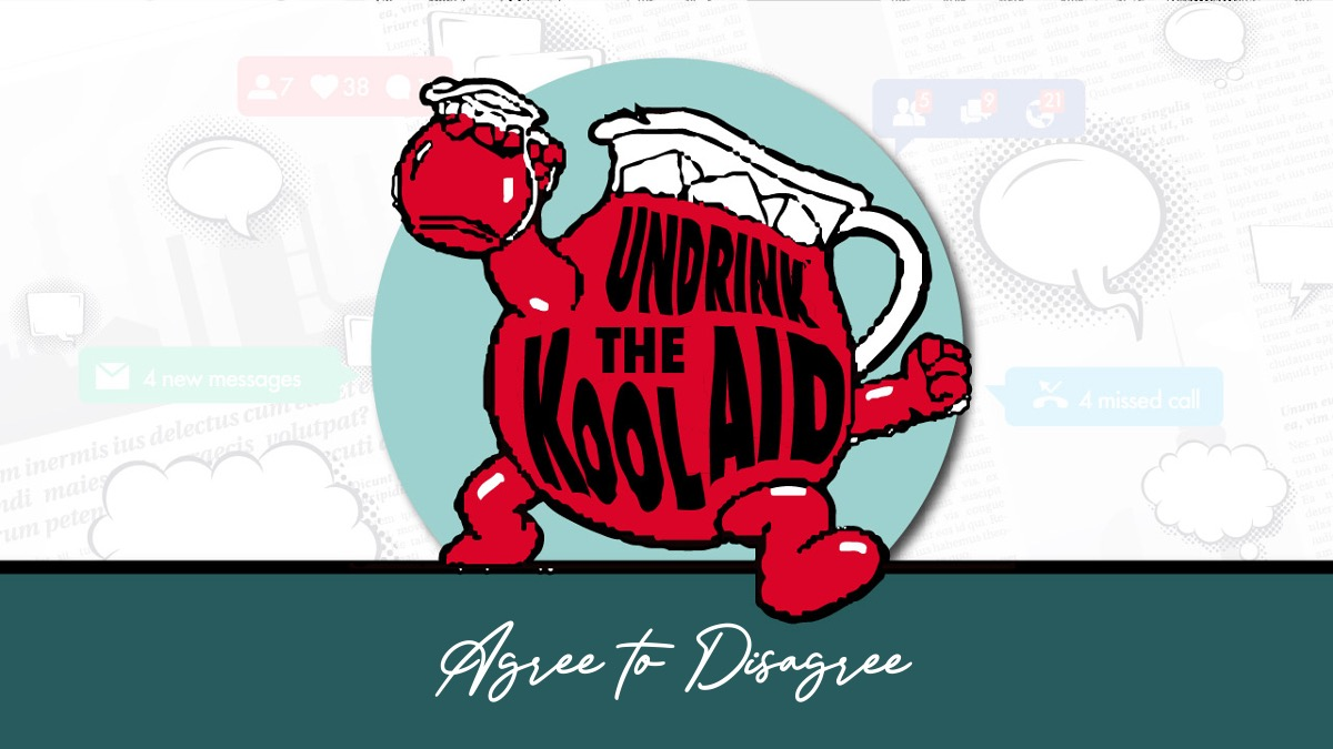 Kool-Aid Character a Glass of Red Kool-Aid holding a glass of Red Kool-Aid Running with the Words Agree to Disagree Printed on His Front