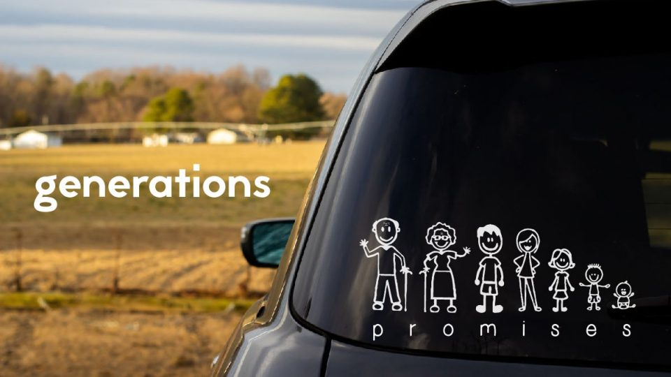 Generations: Promises, image of family in drawn figure stickers on back of car window